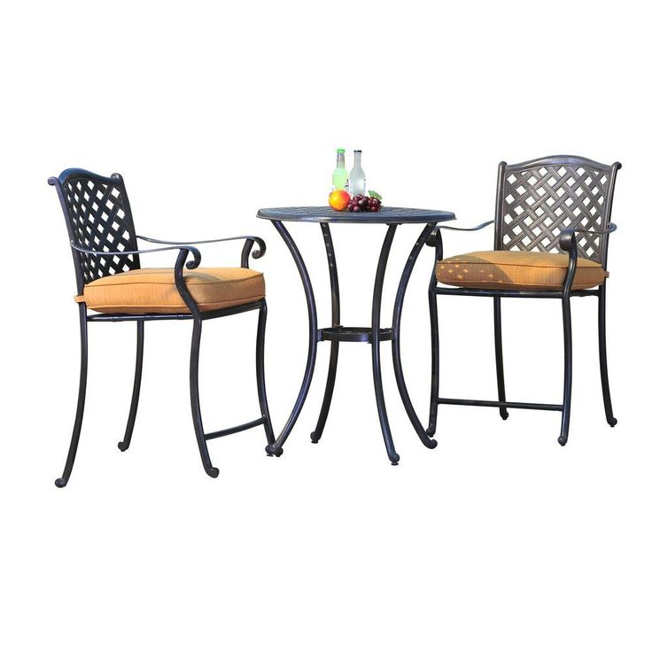 sunjoy ruby 3 piece counter height aluminum patio bistro set with gold weave cushions l bs489sal. Black Bedroom Furniture Sets. Home Design Ideas