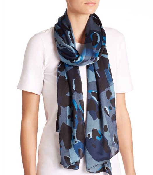 Burberry Animal-Print Silk Scarf Blue-Multi            $75.00