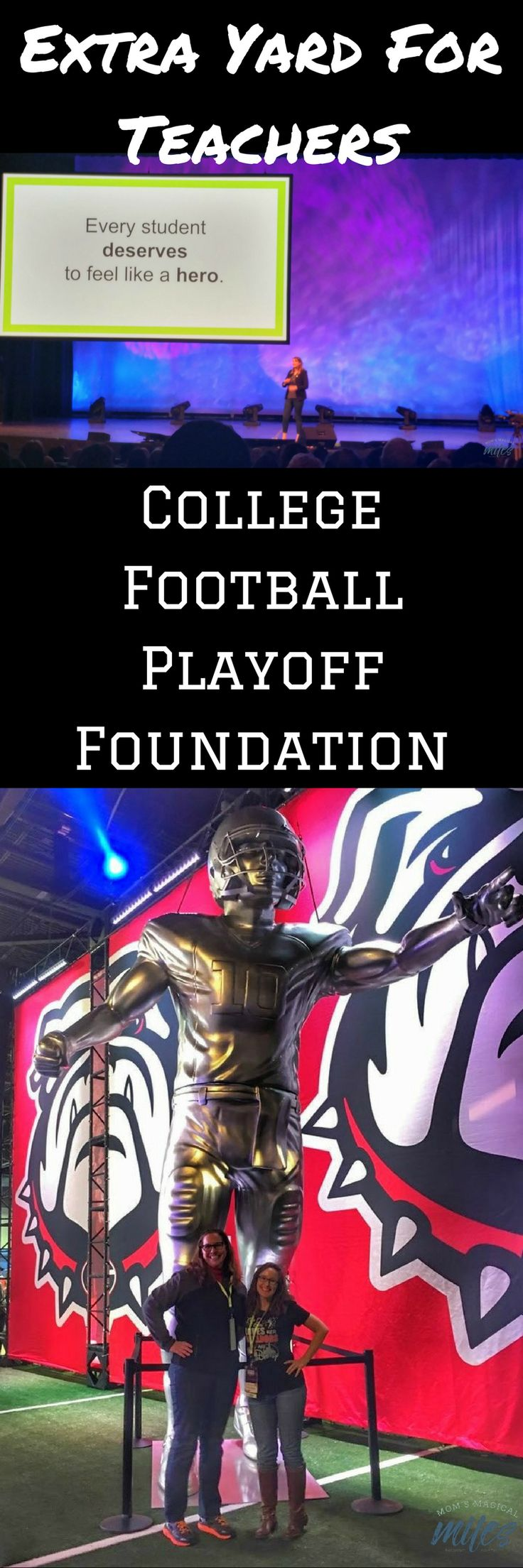 Extra Yard for Teachers is a charitable arm of the College Football Playoff Foundation. It's mission is to encourage and inspire educators across the country.