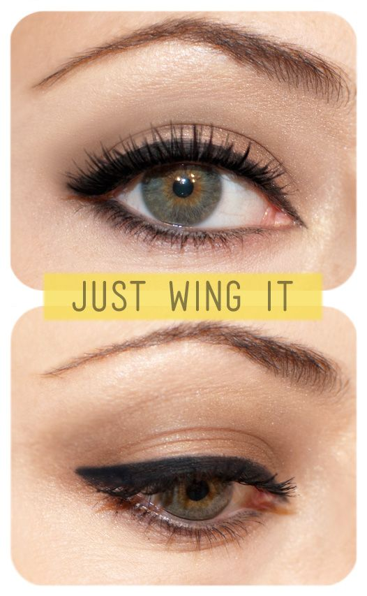 just wing it - eyeliner tutorial.  I use this technique all the time.