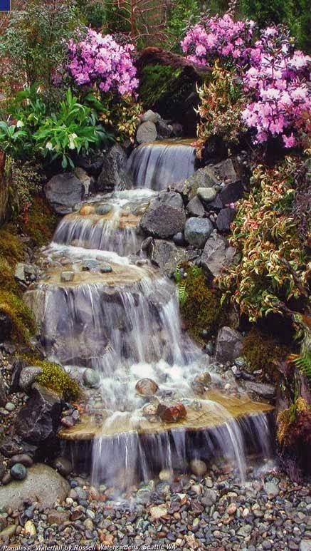 Waterfalls do not have to be big to have a big impact.  The sound of trickling water is lovely and soothing.