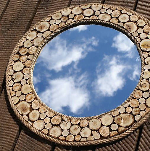 Zrkadlo - odrezky + špagát
