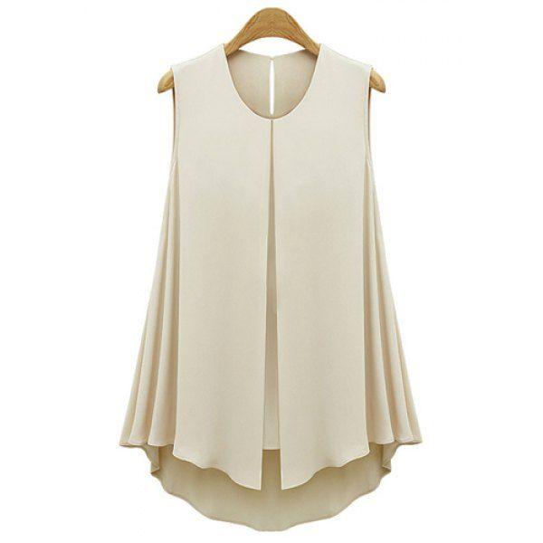 $16.69. Solid Color Grace Scoop Neck Front Slit Sleeveless Women's Blouse, LIGHT APRICOT, S in Blouses | DressLily.com
