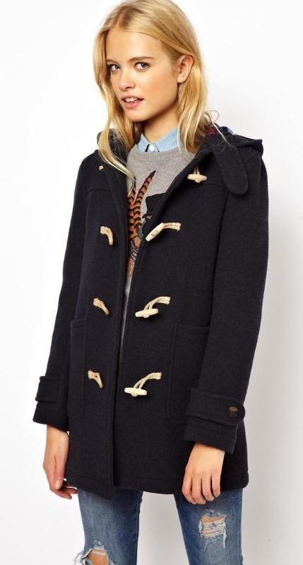 Jack Wills Wool Duffle Coat With Check Lining | Coats Her hair