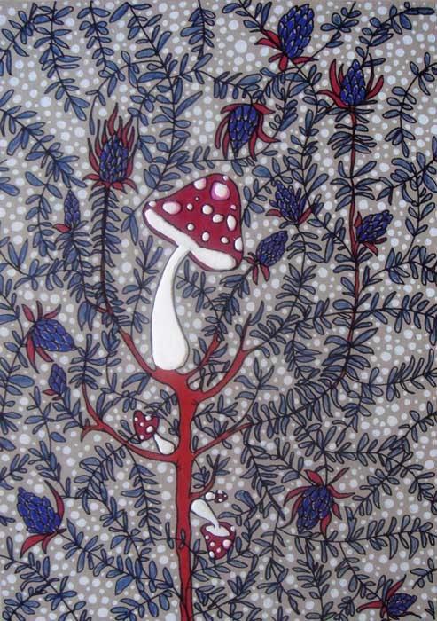 """Sam Punzina  """"INTRA boscaglia"""" - 2011  disegno su cartoncino grigio, cm. 30 x 41"""