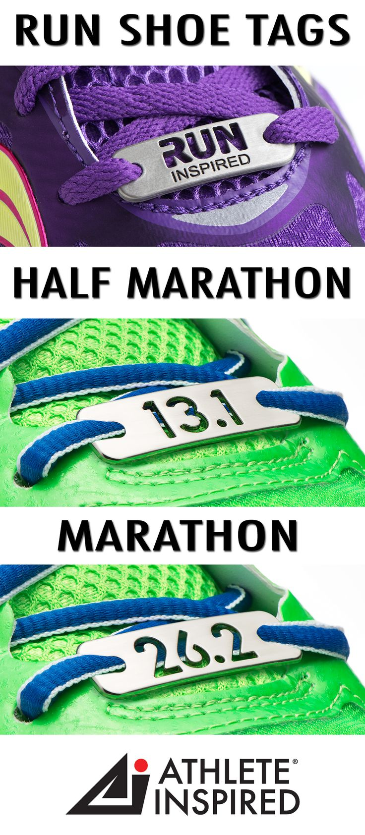 "Show your love for running with this unique, RUN INSPIRED, 13.1 & 26.2 shoe tag or shoe charm. You have accomplished the goal—or maybe it is on the horizon! No matter the distance; 5K, 10K, 13.1 half marathon, or 26.2 marathon. ""Wear"" ever your journey takes you! This unique accessory will be an inspiration to you every time you lace up! Makes the perfect gift for the runners in your life : ) #running"