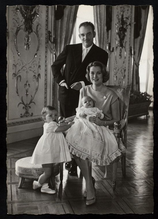Princess Grace (Kelly) with her husband Prince Rainier III of Monaco & children Princess Caroline (left) and Prince Albert II [1958]