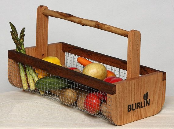 BURLIN Unique Garden Harvesting/ Storage/ Decorative /All Purpose Basket Handcrafted in NC - Medium Size on Etsy, $39.00