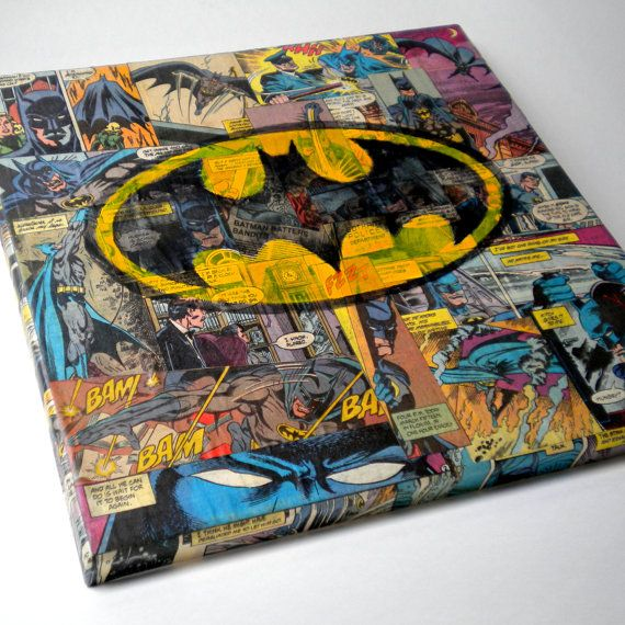 Perfect for any Batman Geek! Batman Original Collage / Painting by ComicGeekery on Etsy, $48.00