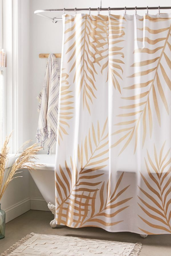 Marta Olga Klara For Deny Gold Palm Leaves Shower Curtain In 2020 Modern Shower Curtains Bathroom Shower Curtains Curtains