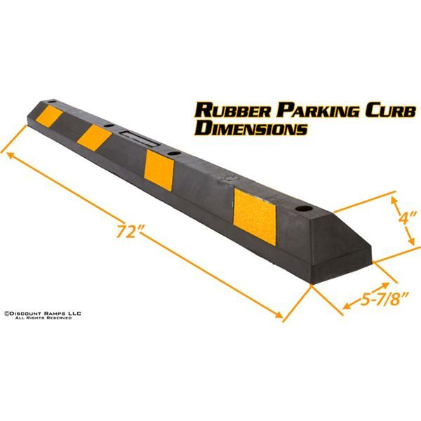 Dimensions for the rubber parking curb