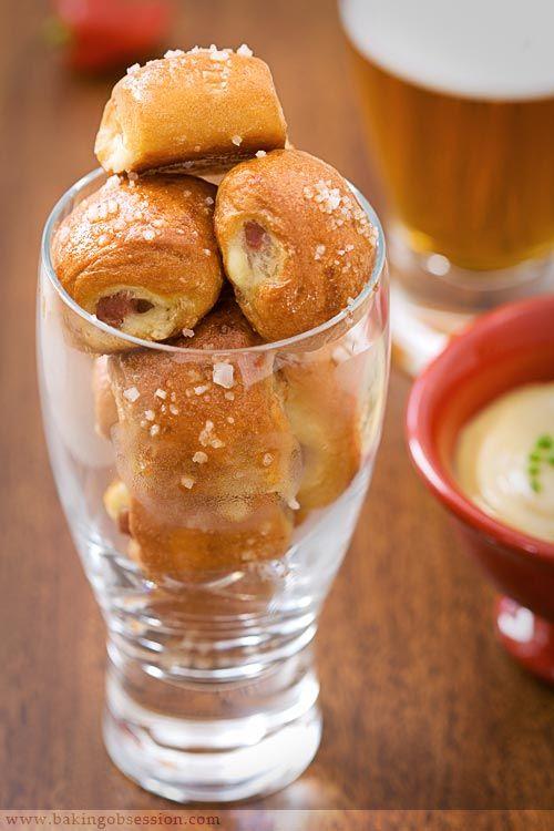 Ham and Cheddar Pretzel Bites with Honey Jalapeño Mustard - Baking Obsession
