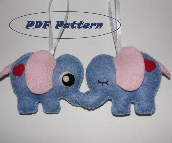 Lovely Felt Elephant Sewing Pattern Baby Shower by NitaFeltThings