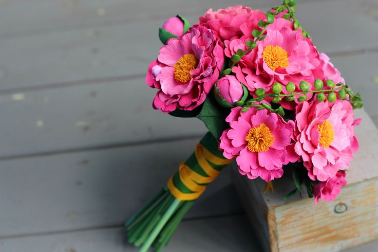 Pink Peonies Bridal Bouquet, Pink Wedding Bouquet, Handmade Flowers by AinursFlorals on Etsy