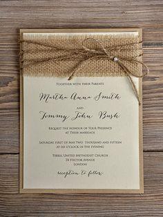 Rustic Blossom Wedding Invitation, Country Style Wedding Invitations,Birch  Bark Wedding Invitations, Burlap Wedding Invitation LOVE THE FONT