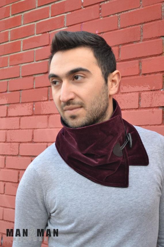Sexy Burgundy Stylish Handmade Unique Scarf / Neckwarmer - Men Scarves / Women Scarves / Unisex Scarves