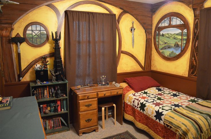 I painted this Hobbit Hole bedroom mural for my brother Johnny  he hand  made the weapons   It won the Hobbit Fan of the Week  See my work   www. I painted this Hobbit Hole bedroom mural for my brother Johnny  he