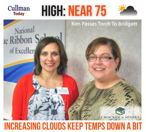 CULLMAN COUNTY WEATHER: WEDNESDAY, April 19th - INCREASING CLOUDS KEEP TEMPS DOWN SLIGHTLY - High 75° - Today's weather forecast sponsored by: Crocker & Sparks - Putting Our Clients First: TODAY: Cullman County weather will see increasing clouds and light, variable winds from the south at 5 to 10 mph. No meaningful rain chances with a high around 75°.  CLEAR - 55° Dew point: 50° Humidity: 84% Wind: Calm Barometer: 30.12 inches Visibility: 10.00 miles  Sunrise = 6:08 am Sunset = 7:23 pm