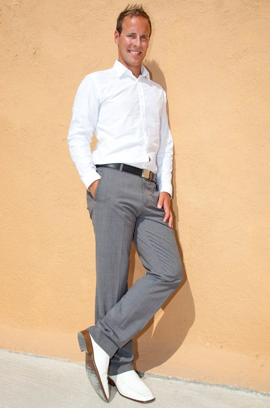 Men's wedding attire summer look Santorini weddings