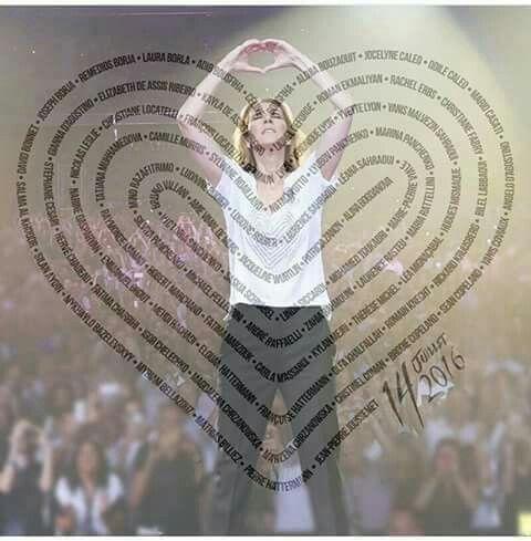 Hommage aux 86 victimes à Nice fin du concert Celine Dion ☝juillet 2017