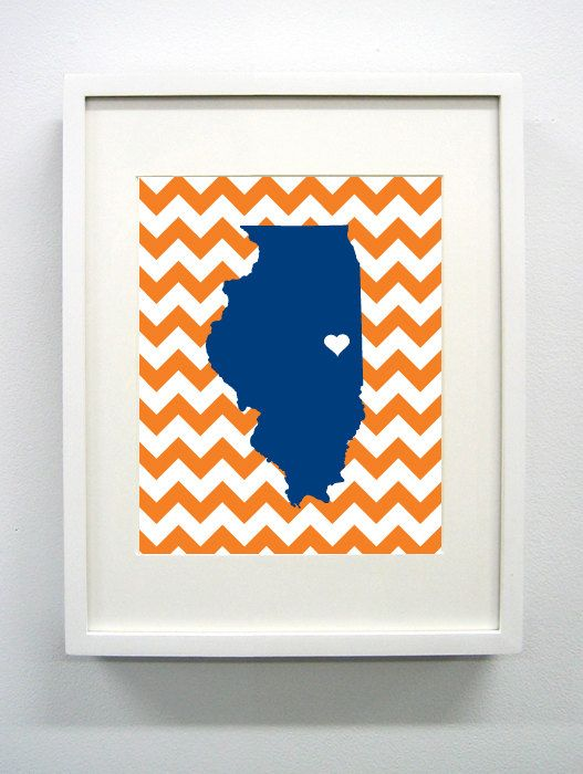Urbana-Campaign, Illinois State Giclée Print - 8x10 -  Blue and Orange University Print
