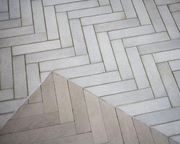 I really like these long white tiles in a herringbone pattern...