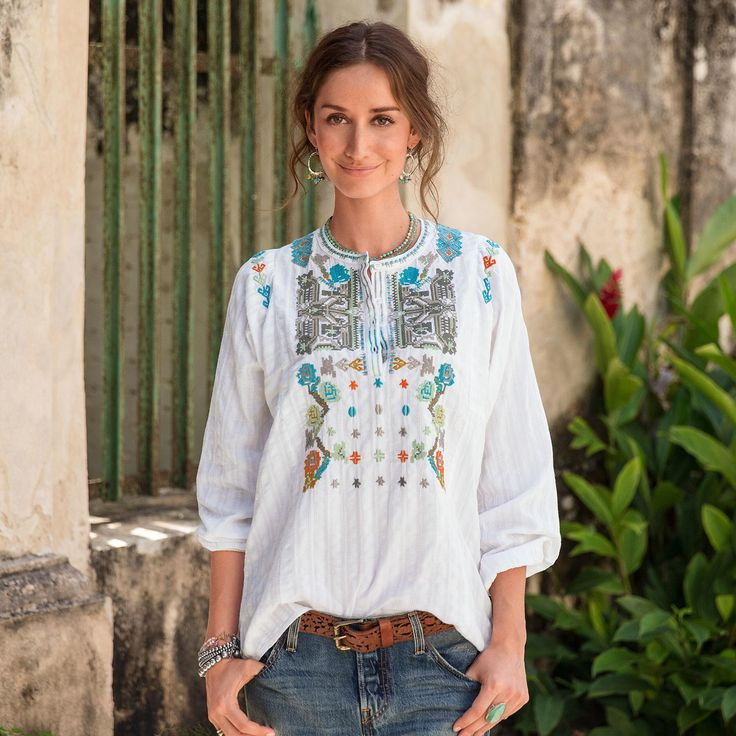 Folkways Tunic: Washed, vintage-colored thread weaves intricate cross-stich  patterns down the front, shoulders and back neckline of this cotton dobby  stripe ...