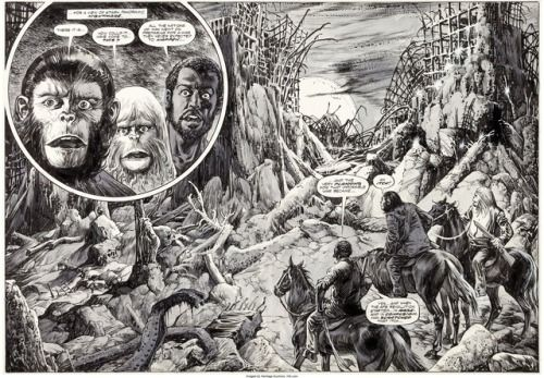 rocket-prose: Original Alfredo Alcala art for a double-page... rocket-prose:  Original Alfredo Alcala art for a double-page splash from Planet of the Apes #24 The Doomsday Spawn (Marvel 1976).  Damn this thing is beautiful.