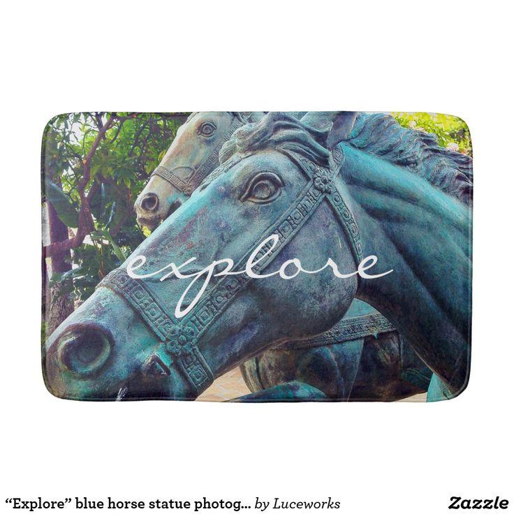"""""""Explore"""" blue horse statue photography bath mat"""