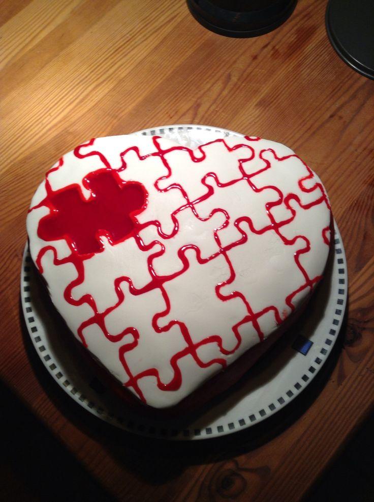 Puzzle-Herz Cake