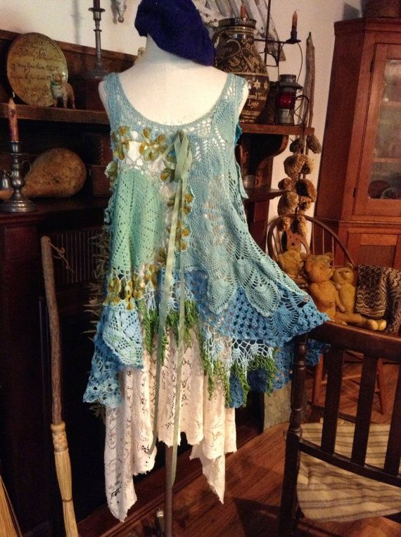 Really like this shorter length.  Luv Lucy Crochet Dress Tunic Lucy's Blue by LuvLucyArtToWear