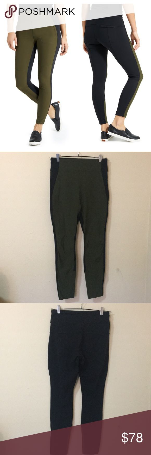 """like new! athleta ankle legging tights Very comfortable and trendy! Can wear without having to cover butt like most leggings! Worn once. Size 8 Regular (not Petite). Color Green and Black. zipper pockets at front and back. High rise. 27.5"""" inseam. 11"""" rise and 38"""" length. Athleta Pants Leggings"""
