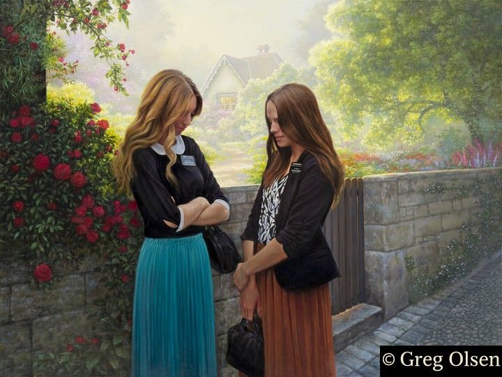 Sister Missionaries - Greg Olsen I just bought this for my room and I absolutely love it! It's so beautiful!