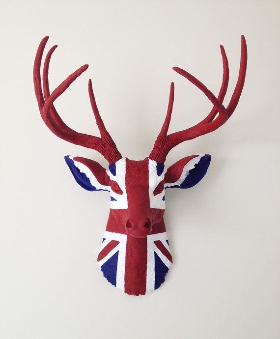 UNION JACK Deer Head Wall Mount by BananaTreeStudios on Etsy,