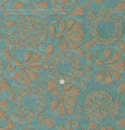 Fortuny fabric Irani in aquamarine & silvery gold