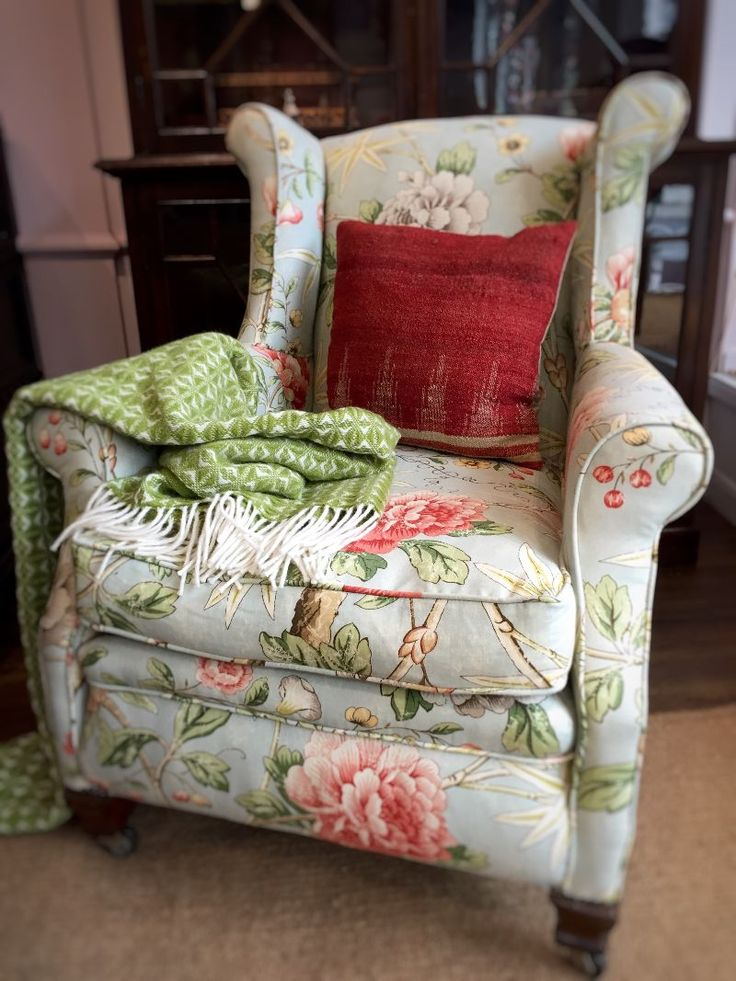 Victorian Armchair Covered In Chintz Fabric From Pyatt