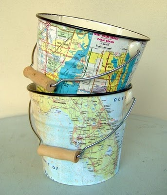 """""""Love these map pails, custom made with your part of the country, by Carolina Cottage. I'm thinking sand and a candle on the front porch."""" my three sons blog."""