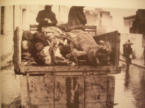 Greece, 1941-1942. Special servicemen collect the dead bodies of people who found death by starvation as the German occupation forces seized all food supplies from Greece to send them to their troops at the Soviet front; death toll among civilian population in Greek urban centers raised to almost half a million.