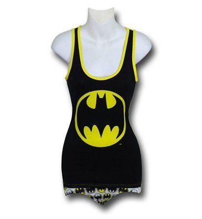 Batgirl Symbols on Black Women's Tank & Panty Set