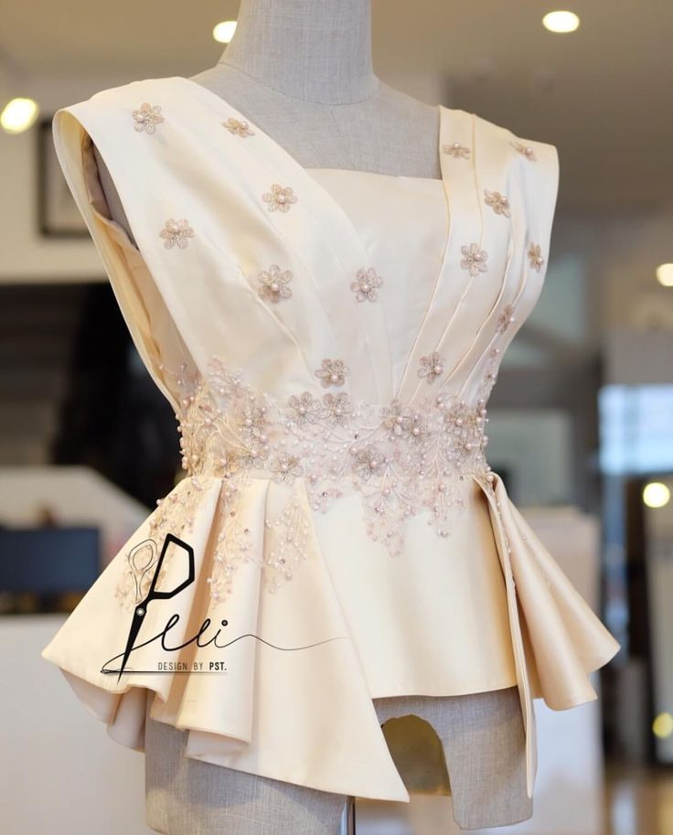 TOP 1. Color: Blush pink (https://pin.it/zm77rpmx3iputp). 2. Follow design and cut. 3. Remove sequins. 4. Replace belt with venise lace (https://pin.it/dhrpq4ktlg4uu4) same color with the top. 5. Second hip length.