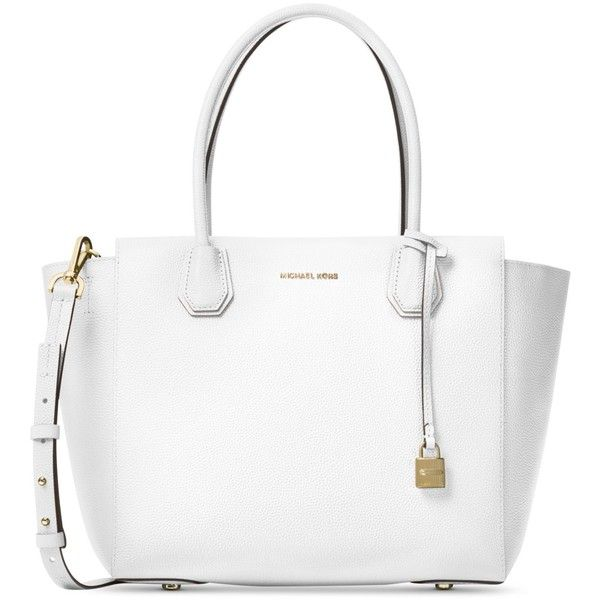 Michael Michael Kors Studio Mercer Large Satchel found on Polyvore featuring bags, handbags, optic white, white purse, michael kors handbags, michael kors shoulder bag, crossbody purses and crossbody satchel