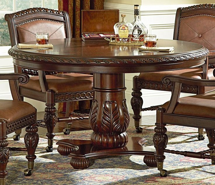 Delightful Extraordinary Round Patio Dining Table Sets From American Black Walnut Wood  Lumber Also A Set Of Antique Living Room Chairs With Roller Ball Caster  Wheels ...