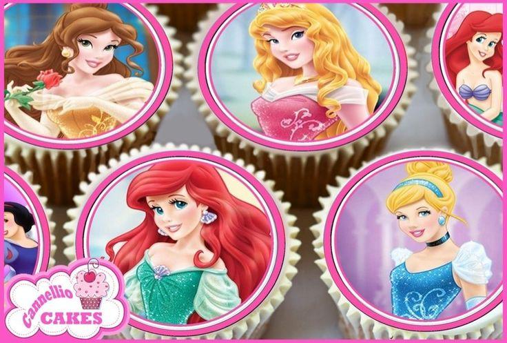 24 X PINK MIXED DISNEY PRINCESS CUPCAKE TOPPERS CAKE RICE PREMIUM PAPER 0142