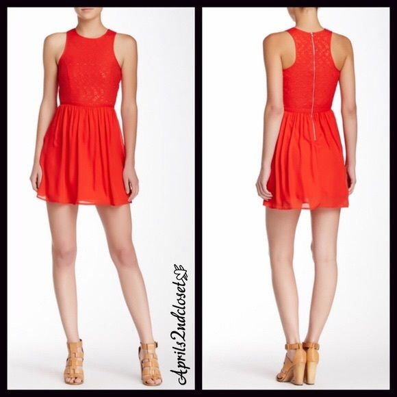 """❗️1-HOUR SALE❗️CHIFFON OVERLAY DRESS Eyelet Mini CHIFFON OVERLAY DRESS   SIZING-S =  sizes 4-6   COLOR- RED  * Floral Eyelet crochet Lace, crew neck top  * A-line silhouette w/a vintage look * Back zip closure; Sleeveless  * Approx 33""""long * Fit-and-flare style chiffon overlay bottom   * Lined  FABRIC Lightweight, 55% rayon- 45% polyester blend   ❌NO TRADES❌ ✅BUNDLE DISCOUNTS ✅ OFFERS CONSIDERED (Via the offer button) ITEM# B93500 SEARCH # sheath Sexy shift sleeveless slip Crochet skater…"""