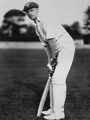 "Don Bradman aka ""The Don"". Demonstrating his unique rotary action (the bat is side on)."