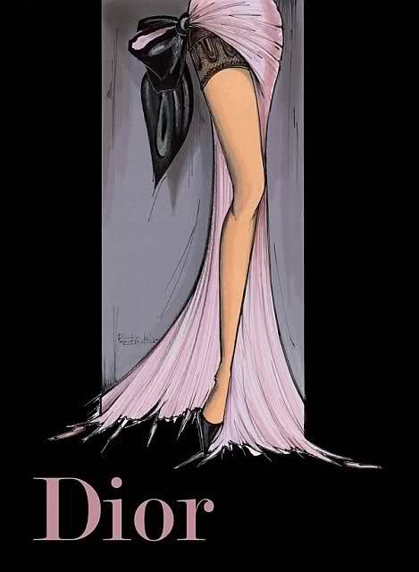 Rene Gruau Love this Dior illustration because it encompasses the brand in one beautiful illustration. The leg detail and focus draws the eye down to the Dior name. The use of black really balances out the negative space.