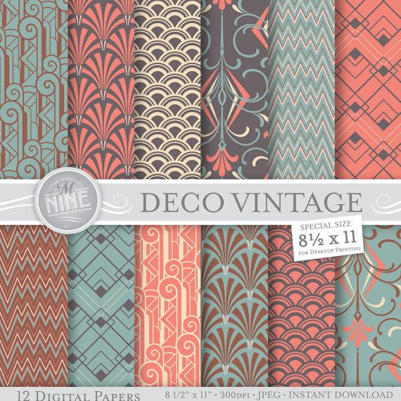 VINTAGE ART DECO Patterns 8 1/2 x 11 Digital Paper Pack      *** BUY 2 GET 1 MORE FREE (of equal or lesser value) ***    Please leave your choice of
