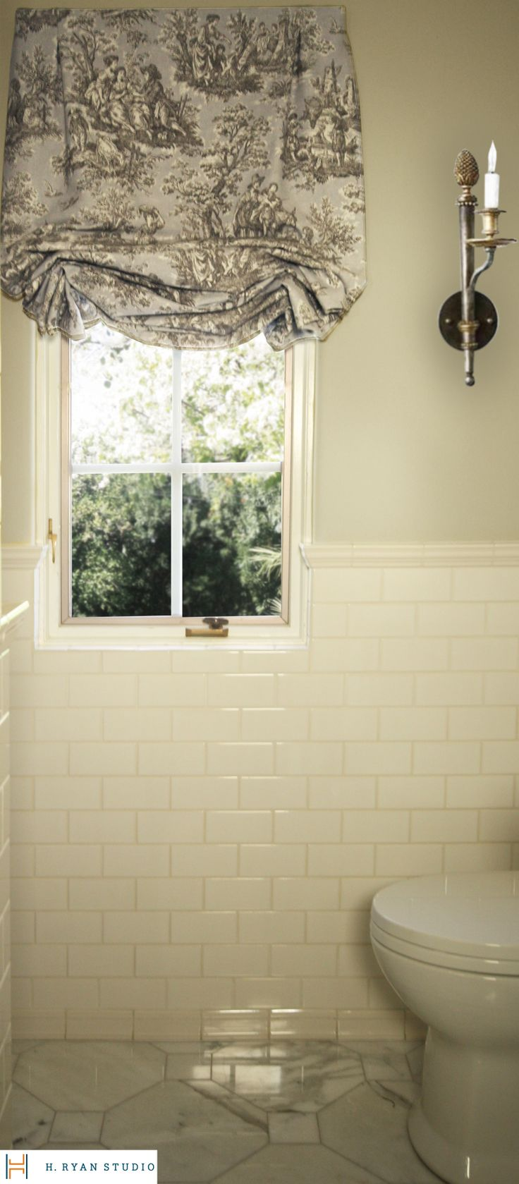 Craftsman style bathroom lighting - H Ryan Studio European Mission Style Bathroom W Custom Window Treatment Www