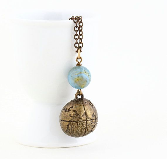 Traveler's Necklace - Globe Necklace - Gift For Explorer - World Necklace - Brass Globe and Blue and Gold Bead Charm Necklace - Gift For…