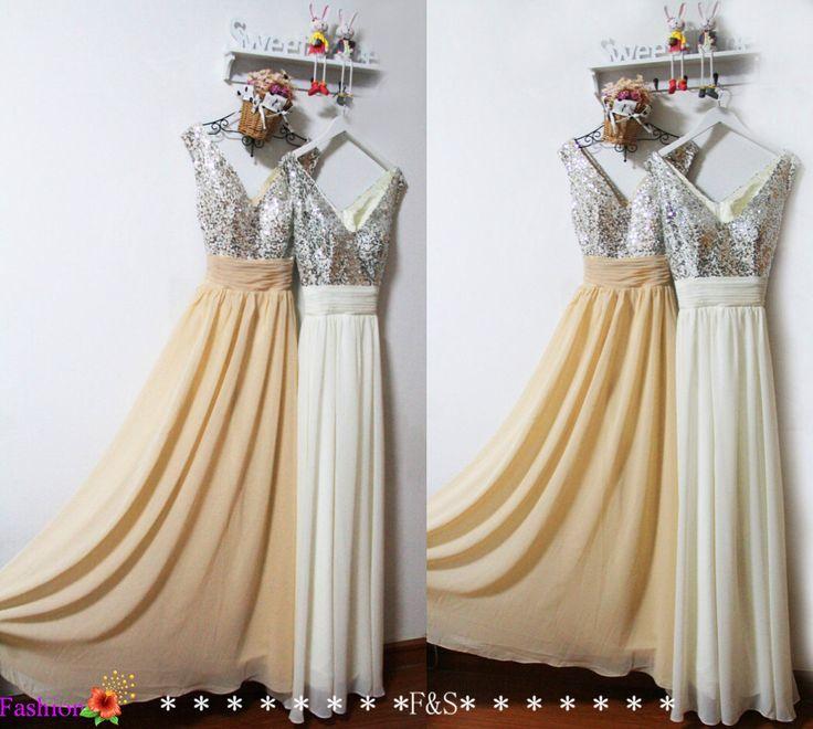 Ivory Bridesmaid Prom Dress,Ivory Wedding Dress,Long Chiffon Bridesmaid Dress,Sexy Prom Evening Dress,Sparkly Bridesmaid Dress,Prom Dress by FashionStreets on Etsy https://www.etsy.com/listing/191989577/ivory-bridesmaid-prom-dressivory-wedding